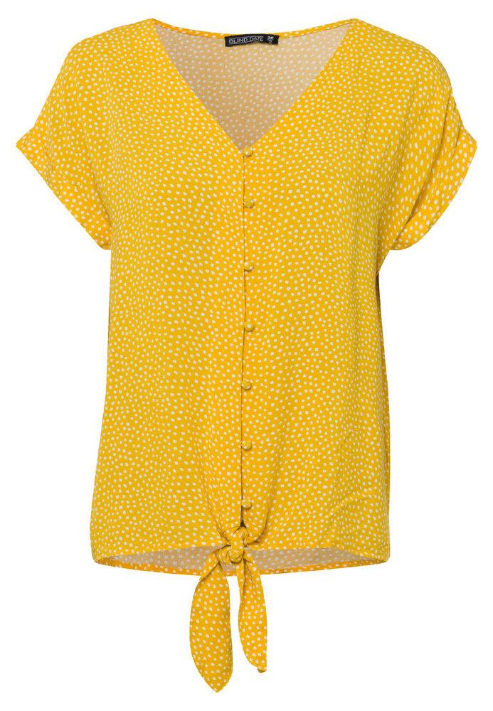 Basic-Bluse mit Knöpfen und Knoten