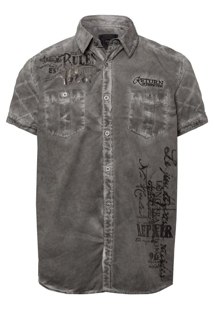 Kurzarmhemd mit Schriftzug-Prints