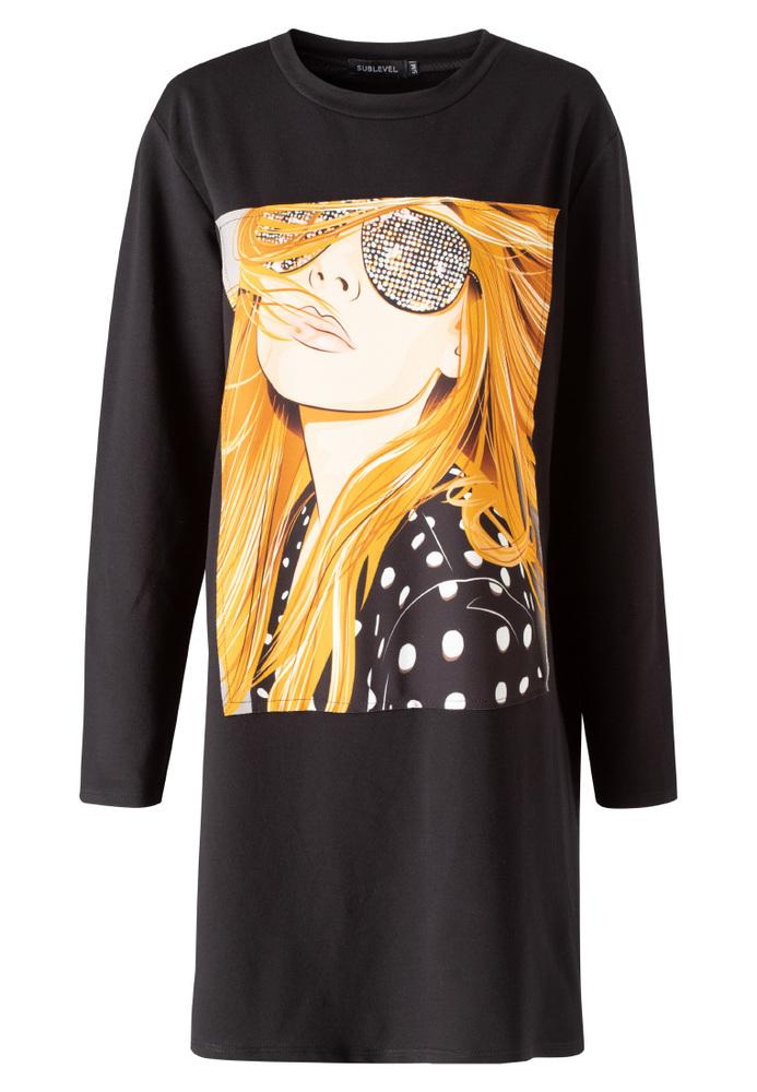 Shirtkleid mit Front-Print