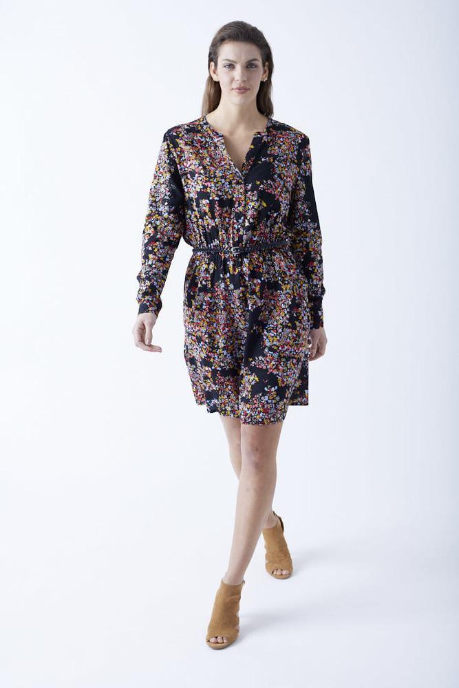 Viskose-Kleid mit All-Over-Muster